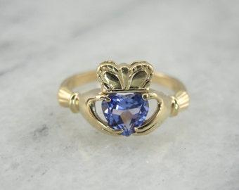 Tanzanite Claddagh Ring, Heart Shaped Tanzanite Claddagh Ring 824KRE-P