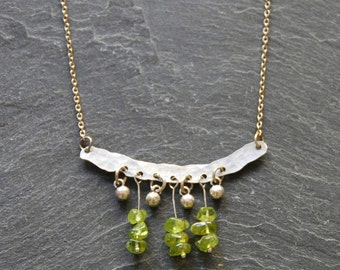 Hammered bar necklace, Peridot necklace, Raw gemstone jewelry, Boho chic necklace, Birthday gift, Gemstone necklace, Boho necklace, 1124