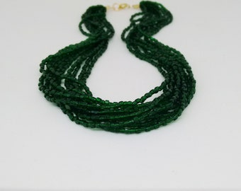 Emerald necklace,green, sea green necklace,retro necklace, green necklace,boho necklace,multistrand,beaded necklace, emerald jewelry