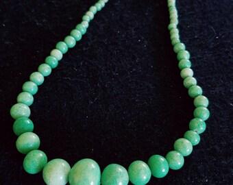 Sale Antique 1930's Czechoslovakia Green Peking Glass with Brass Clasp, Peking Glass Beaded Necklace, Czechoslovkian  Choker Jewelry