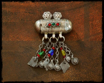 Old Afghan Silver Pendant with Glass Inserts