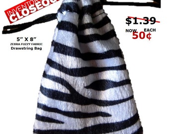 CLOSEOUT Zebra Animal Print Bag 5x7 -  5 Pack
