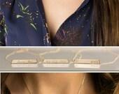 Gold Bar Necklace, Custom Name Bar Necklace / 14k Gold Fill Bar / Bridesmaid Necklace Silver, Gold & Rose Gold Layered Long LN155_32_H