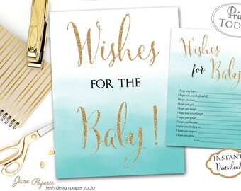 INSTANT DOWNLOAD - Blue Ombre Glitter Wishes for the baby Sign - Boy Baby Shower - Blue Baby Shower - Wishes for Baby - Baby Advice - 0177