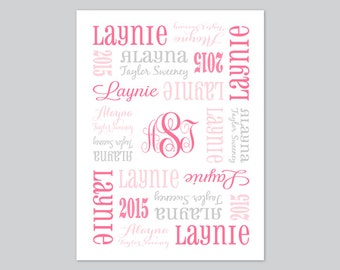 Personalized Baby Blanket - Pink and Gray Fleece - Baby Girl or Boy - Custom Made - You Choose Colors - Baby Room Decor