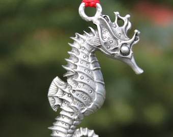 Lead Free Pewter Seahorse Ornament fine pewter decoration Made in Michigan Free Shipping