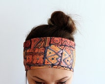 Ethnic Boho Headband, Elastic Soft Double Layer Jersey Headband, Workout headband, Head Wrap, Running, Fitness Headband, Yoga Headband Y48