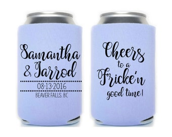 Canadian Wedding, Personalized Can Cooler, Monogrammed Gift, Beer Holder, Spring Wedding, Fall Wedding, Wedding Favors , Beer Huggers