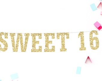 Sweet 16 Banner, Birthday Banner, Sweet 16 Party, 16th Birthday Banner, Sweet 16 Decoration, Sweet 16 Party Decor, Party Banner, Gold Party