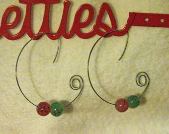 Pink and Green Beads Earring Loops. (E 475)