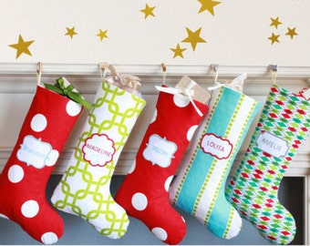 Personalized Christmas Stockings for Children / monogrammed stockings / custom / Children stockings