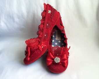 Wizard of Oz Inspired Ruby Red Slippers Queen of Hearts Costume Shoes High Heels Lace Ruffles Party Fantasy Wedding Pumps Marie Antoinette