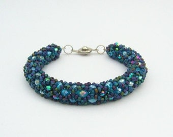 Beaded Bracelet Light Blue, Turquoise, Metallic Blue