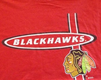 Blackhawks logo etsy for Vintage blackhawks t shirt