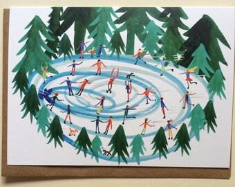 Ice Skating // Watercolour Illustration // Blank Card