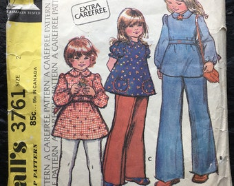 Vintage 1970s Childs' and Girls' Dress or Top and Pants Pattern // McCall's 3761, size 2