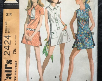 Vintage dated 1970 Misses' Play Dress and Shorts in Three Versions Pattern // McCall's 2424, size 14, outer skirt, skort > unused