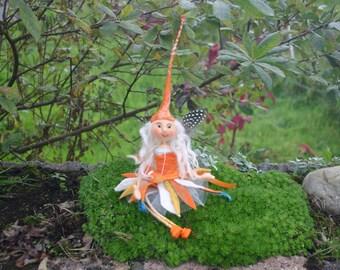 quirky little felt fairy ,felted  wool fairy,sitting fairy,orange felt fairy,fibre felt fairy LULU