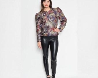 Vintage 80's Metallic Shiny Long Sleeve Blouse