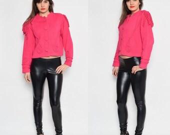 Vintage 80's Hot Pink Embellished Epaulet Buttoned Sweater