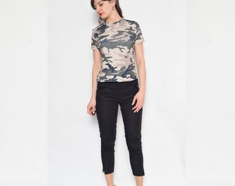 Vintage 90's Camouflage Shirt / Military Print Top / Camouflage Top