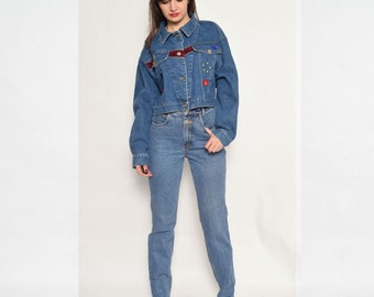 Vintage 80's Jeweled Blue Denim Jacket / Button Blue Denim Jacket / Cropped Denim Jacket - Size Medium