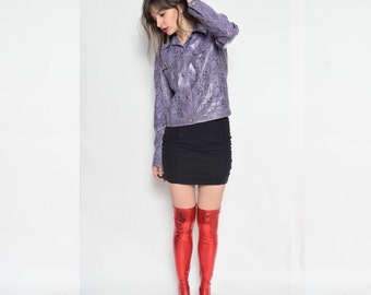 Vintage 90's Faux Leather Purple Jacket / Snake Skin Button Jacket / Lilac Faux Leather Jacket