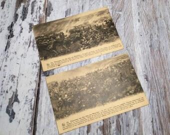 Vintage Postcard . Two Belgian Postcards . Battle of Waterloo . Belgium Postcards . Old Postcards .