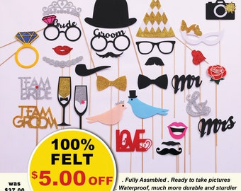 Bachelorette photo booth props.  Set of 30 piece FELT and GLITTER wedding photo booth props
