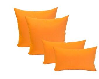"""Set of 4 - 17"""" Square & Rectangle / Lumbar Pillows ~ Solid Tango Orange ~ Indoor / Outdoor Decorative Throw Pillows"""