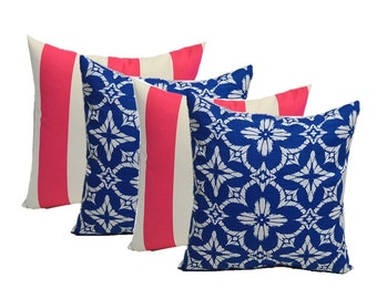 Set of 4 - In / Outdoor Square Throw Pillows ~ 2 Richloom Cobalt / Royal Blue White Geometric Sunburst & 2 Hot Pink White Stripe Choose Size