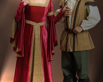 Butterick B4571 UNCUT Floor-Length Flared Dress Flared Sleeves Renassiance Medieval Shakespeare Robin Hood Costumes Sewing Pattern