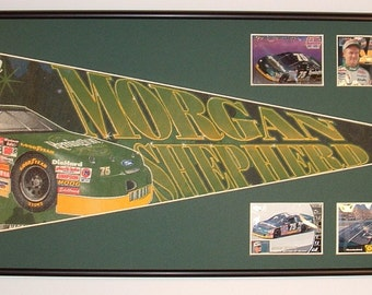 "Vintage NASCAR driver, Morgan Shepherd ""Remmington"" pennant & cards...Custom Framed!!"