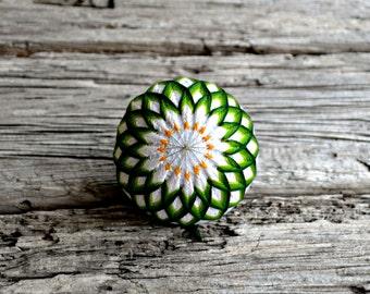 Water Lily Temari, Traditional Japanese Folk Craft, Lotus Temari Ball Japanese Fiber Art Sculpture Home Decor, White Green Woven Design Ball