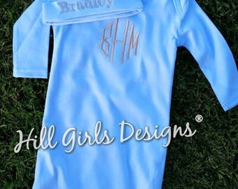 Baby boy monogrammed gown and hat