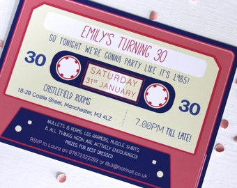Cassette Tape 80s Invitations with envelopes - Printable file Option
