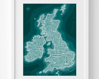 UK and Ireland – UK Text Map – Great Britain Print – British Isles Wall Art – United Kingdom Gift – 30x40cm or 50x70cm – In Many Colours