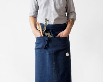 Navy Stone Washed Linen Garcon Apron