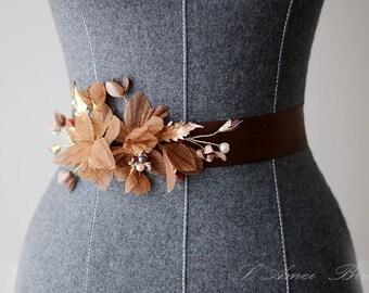 Chocolate Brown Fabric Flowers Ribbon Sash Belt - Bridal Champagne, Beige, Pearls, Crystals, Vintage Wedding Dress Sashes Belts