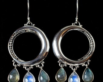 Moonstone Labradorite Hoop Earrings, Moonstone Labradorite Dangle Earrings, Sterling Silver Moonstone Labradorite Earrings: MELINDA