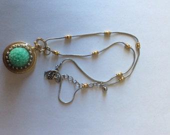 Flower and Pearl Pendant,  Aqua/Pearl