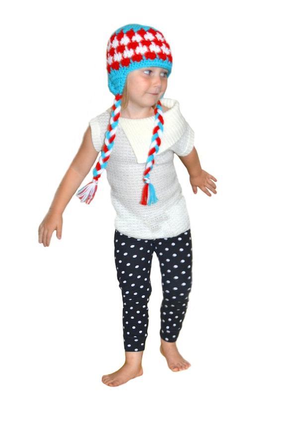 Red White & Aqua Crochet Winter Hat Color Pop Larksfoot Stitch Unisex Gender Neutral Hat Toddler Winter Hat Toddler Girls / Boys Earflap Hat
