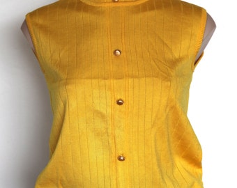 Mod 60's yellow sleeveless top M