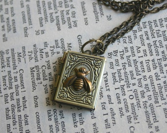 Bee Locket Necklace Antique Bronze Rectangle Photo Locket Hidden Message Woodland Boho Picture Queen Bee Necklace
