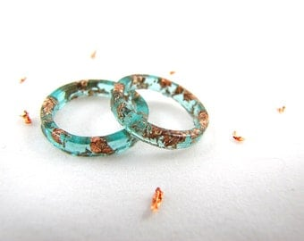Aqua Stacking Resin Rings with Rose Gold Flakes