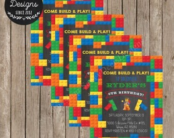 Lego Birthday Invitation Printable - Lego Themed Birthday Invitation Printable - Lego Chalkboard Invitation - DIY Printable