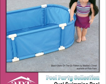 Pixie Faire AptOne8 Pool Party Collection: Oval Swimming Pool PVC Pattern PVC Pattern for 18 inch American Girl Dolls - PDF