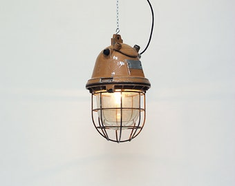 "Hanging industriel lampe:""Orange meteor"""