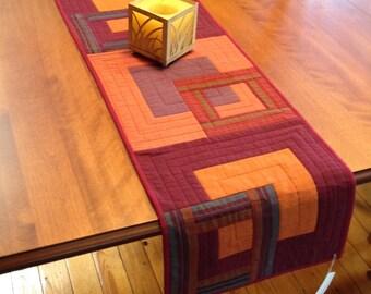 Quilted Shot Cotton Tablerunner, Reversible Quilted Table Runner, Kaffe Fasset Oakshott and Stripes Table Linens, Handmade Quilted Runner