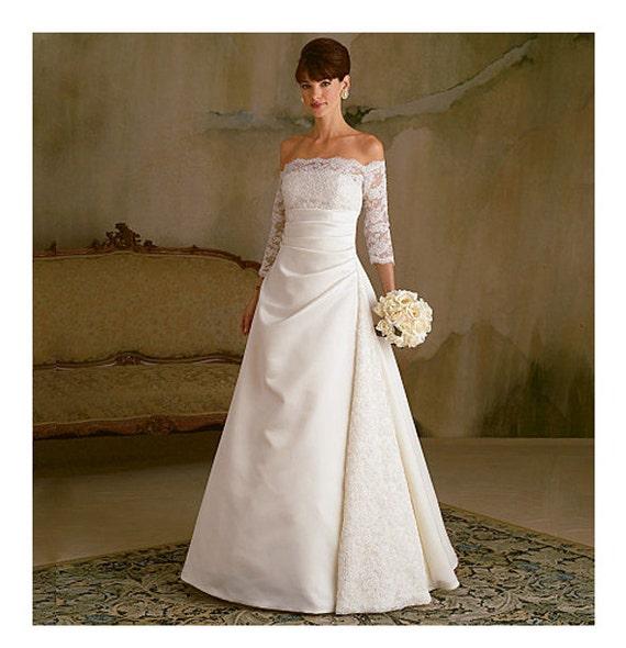 WEDDING DRESS PATTERN Off Shoulder Bridal Gown Fit & Flare